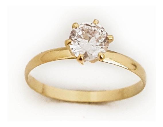 Anel Feminino Solitário Pedra Cristal Folheado Ouro 18. A167