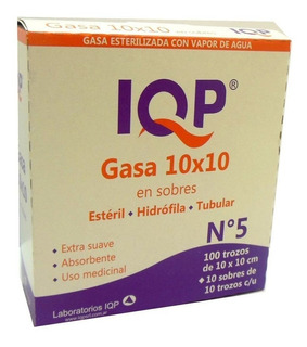 Gasa Esteril 10x10 Lqp Caja X 100 Trozos 10 Sobres.