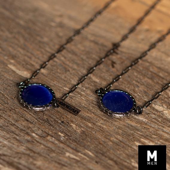 Escapulário Madrepérola Azul Escuro Masculina Semi Joia