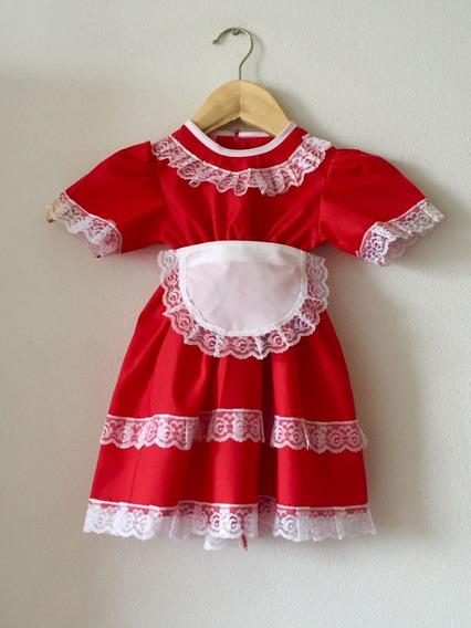 Vestido De Huasa Para Bebés Rojo De 0 A 24 Meses.