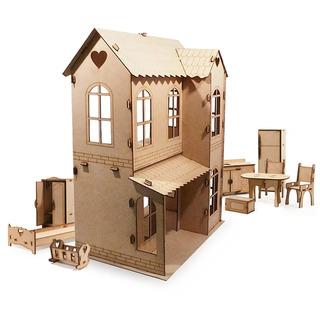 Casita De Muñecas + 21 Muebles Casa Fibrofacil M3 - Oferta !