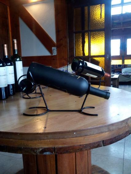 Soporte Rustico De Hierro Para Botellas De Vino -artesanal-