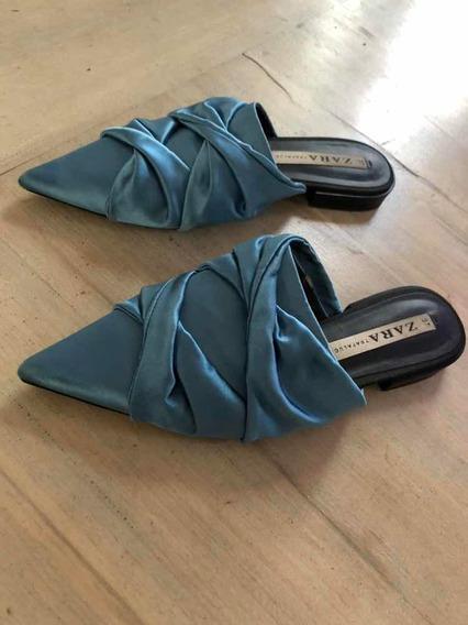 Zapatos Chatos De Saten Celeste Marca Zara