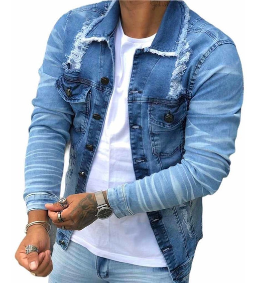 Jaqueta Masculina Jeans Premium Slim Destroyed Rasgada Moda