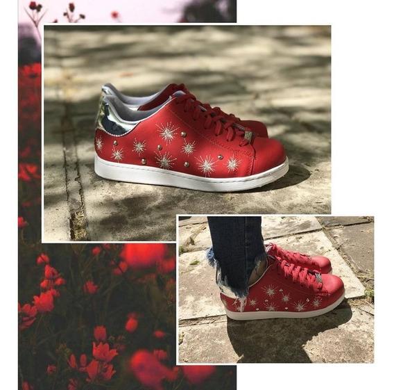 Zapatillas Roja Con Estrellas Tula Cuestión De Piel