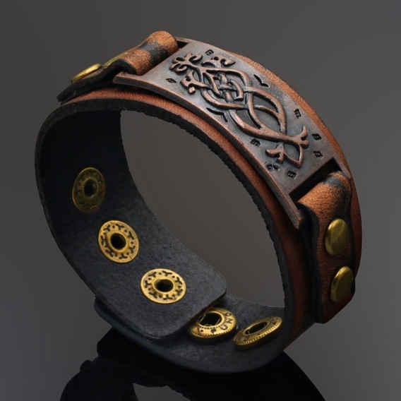 Bracelete Pulseira Couro Masculino Tribal Viking Rock