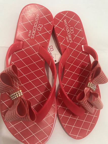 Chinelo Worldcolors Summer Kids - Coral Com Laço