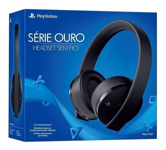 Fone Ps4 Ps3 Pc Vr Sony Série Ouro 7.1 Sem Fio Headset Gold