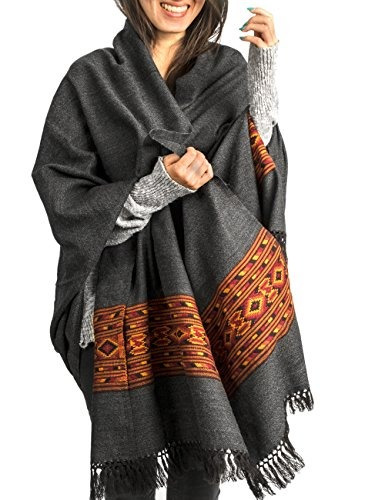 Kullu Handloom Wool Shawl Abrigo Grande Panuelo Manta De Lan