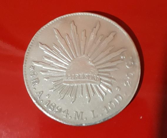 Moneda 8 Reales Plata Original México 1894