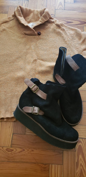 Botas Cortas Gamuza Negra Y Suela Con Plataforma