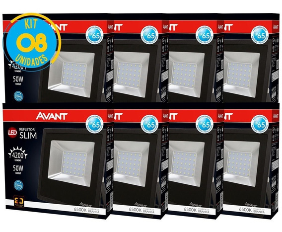 Kit Refletor Led 50w Branco Holofote Bivolt 8 Pçs Avant