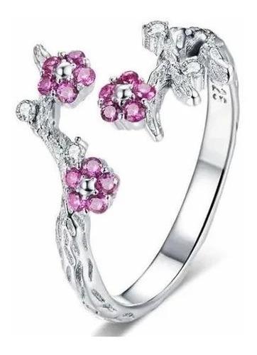 Imagen 1 de 5 de Anillo 100% Plata Esterlina Flores Ajustable Cristales Swaro