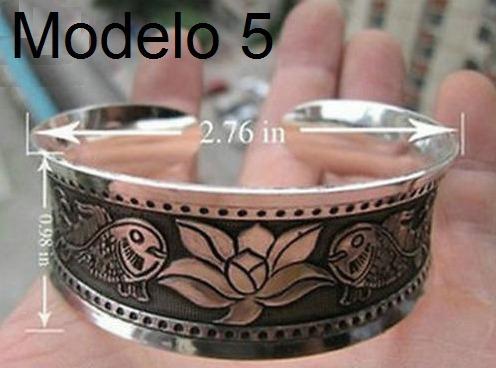 Pulseira Bracelete Regulável Metal Prata Tibetana Flor Lótus