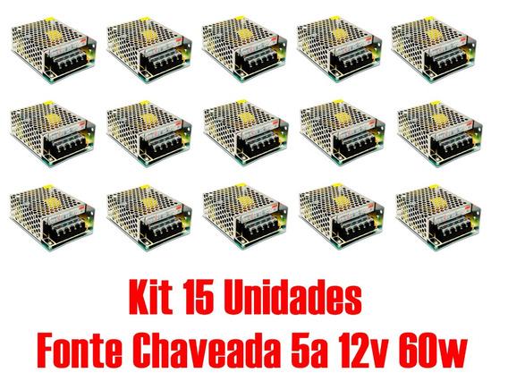 Kit 15 Fonte Chaveada 5a 12v 60w P/ Cftv Fita De Led