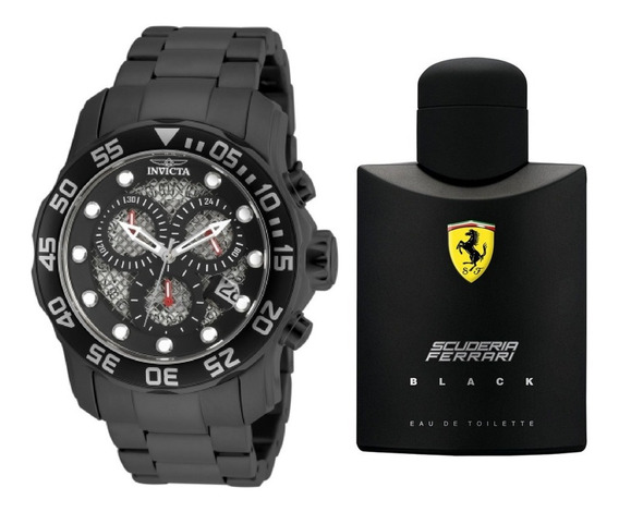 Rélogio Invicta Pro Diver 19838 Brinde Perfume Ferrari Black
