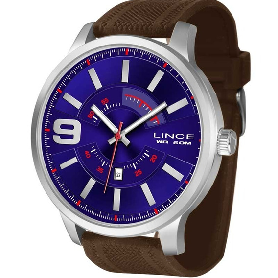 Relógio Lince Masculino Marrom Azul Barato Nota Mrph056sd2mx