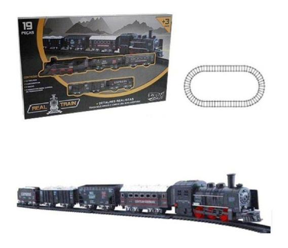 Trenzinho Infantil De Brinquedo Ferrorama Locomotiva 19 Pçs