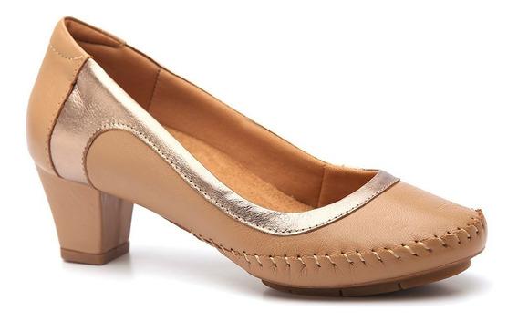 Sapato Feminino 787 Em Couro Amendoa/metalic Doctor Shoes