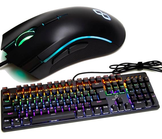 Teclado Mecânico Gamer + Mouse Strike 7 Botões Com Scroll