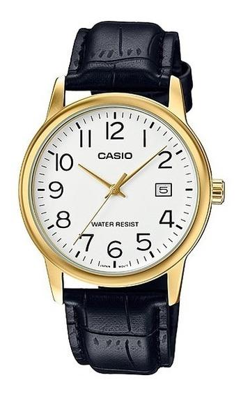 Relógio Casio Masculino Analógico Collection Dourado Couro