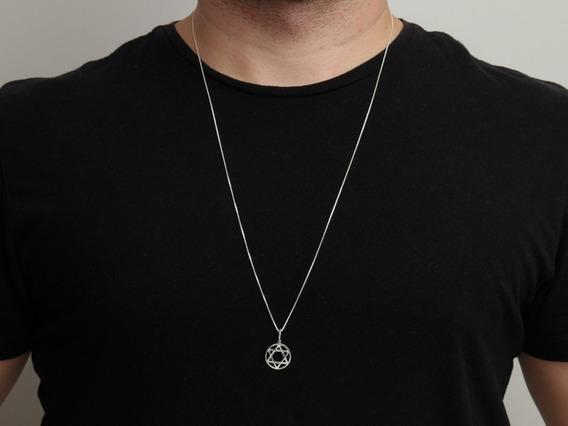 Corrente Masculina Prata 925 Cordão 70cm + Estrela De Davi