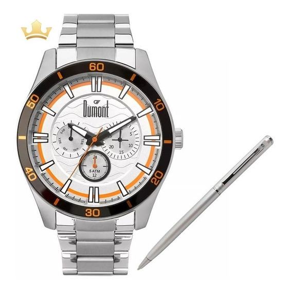 Relógio Dumont Masculino Du6p29acc/3k + Brinde Caneta Crown