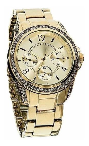 Relógio Feminino Dourado Com Strass.