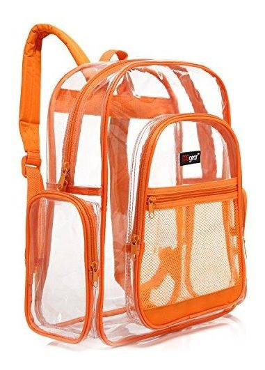 Mochila Escolar Clara Con Borde Naranja, Bolsa De Libro Pvc