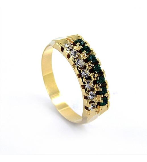 Aliança Dupla Banhada Ouro 18 K Pedras Cristal/esmeralda - 1