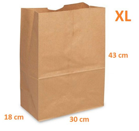 37dcce6ee 1,000 Bolsas De Papel Kraft Super Biodegradable 30x18x43cm