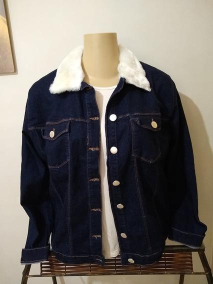Jaqueta Plus Size Consciencia Jeans Pelo Na Gola Veste 50/52