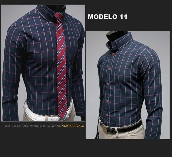 Camisa Casual Slim Fit Corte Pegado Modo Asiatica Cuadros