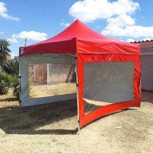 Tenda Sanfonada 3x3 Lona Pvc Maior Durabilidade + 3 Laterais