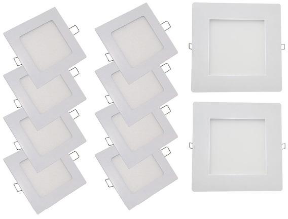 Kit 10 Painel Plafon Embutir Quadrado Led 48w Branco N 4000k
