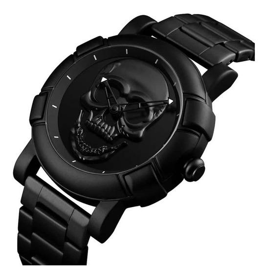 Relógio Masculino Skull Black/go 3d Caveira A Pronta Entre