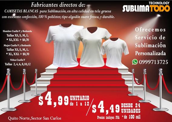Camisetas Para Sublimación,tacto Algodón, Desde 3,80 X Myr .