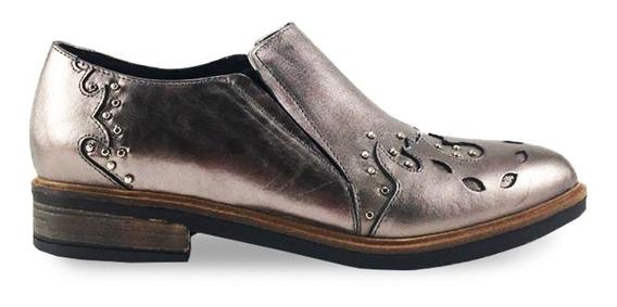 Zapato De Cuero Doble Elastico 922 Color Peltre