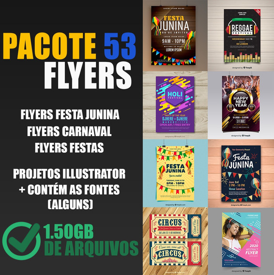 53 Flyers Illustrator Festa, Reggae, Junina, Carnaval 1.50gb