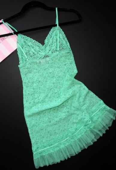 Victorias Secret Lencería Babydoll Encaje Aqua M Stretch
