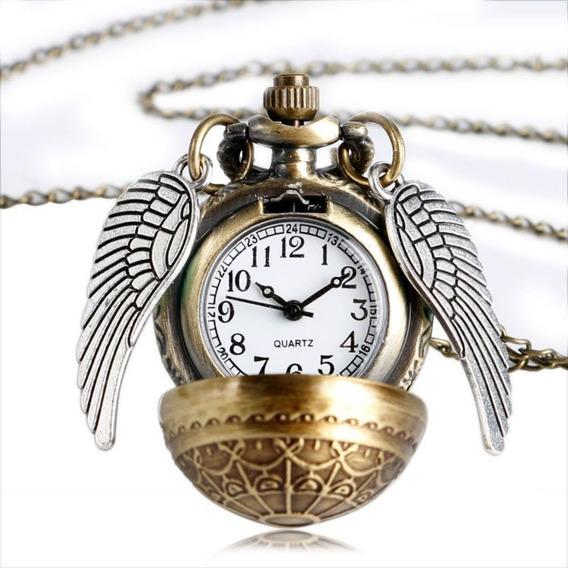 Colar Relógio Pomo De Ouro Quadribol De Harry Potter