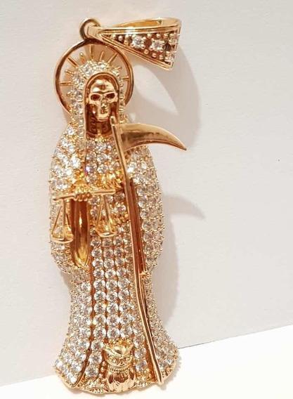 Dije De Santa Muerte Con Cadena Oro Laminado