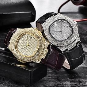 Relógio Dourado Prata Cravejado Zirconia Couro Unissex