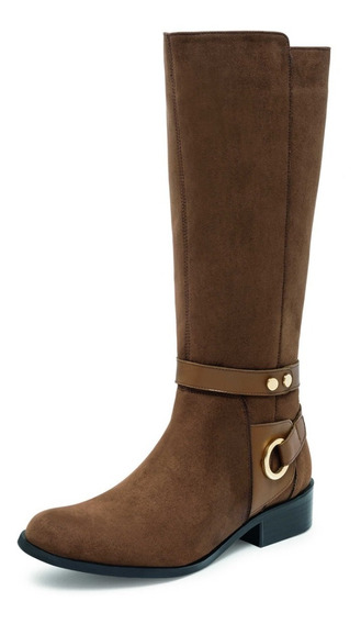 Bota Alta Café Dama Zapato Mujer 04404 Envio Gratis