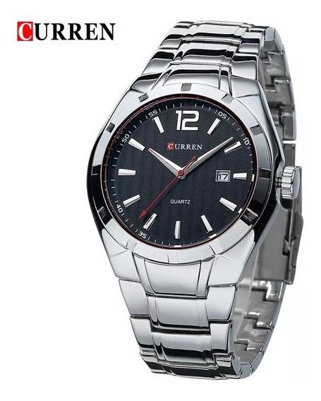 Relógio Masculino Preto Prata Aço Inox Calendário Pulso