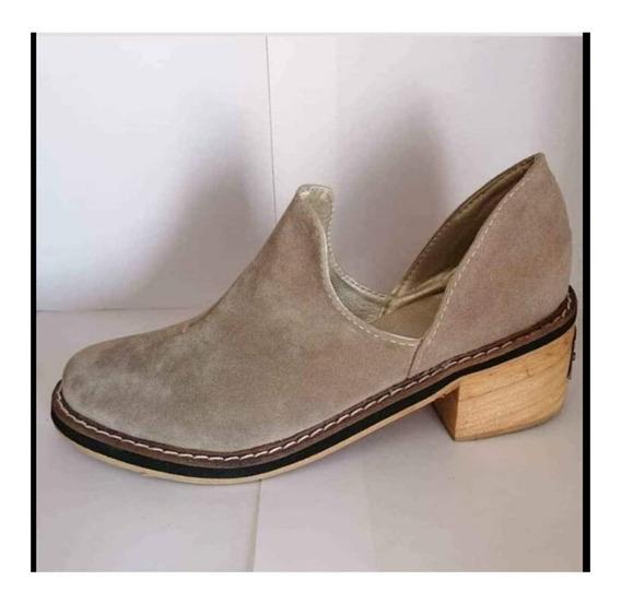 Zapatos Texanas Mujer Gamuza Taco Madera De Moda Otoño 2020