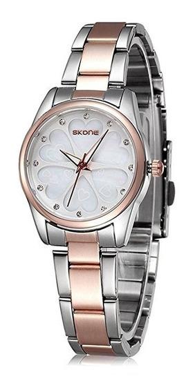 Reloj De Mujer Skone Rose Gold Rosa Dama Elegante