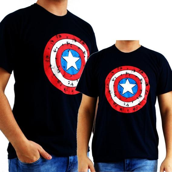 Kit Pai E Filhos Super Herois 3 Camisetas Capitão América