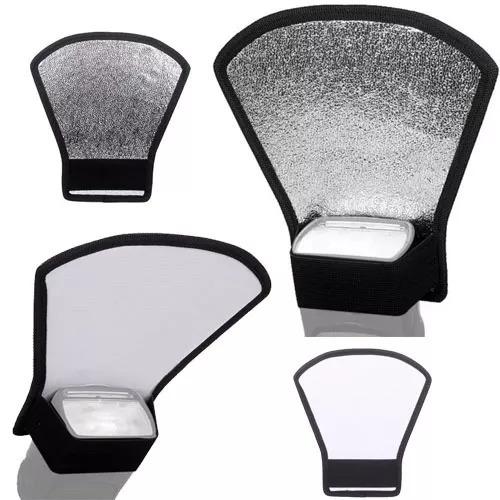 Rebatedor Refletor Para Flash Luz Leque 2 Em 1 Branco Prata