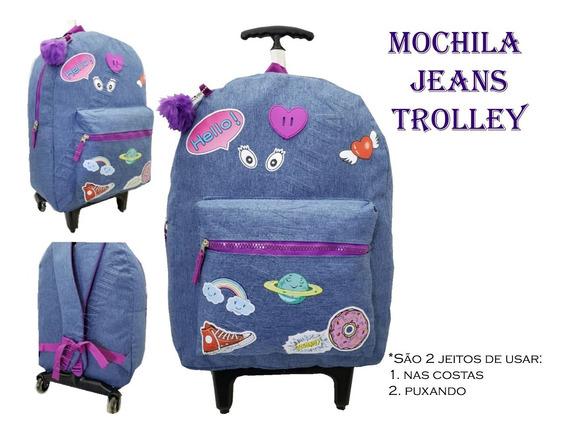 Mochila De Rodinha E Alça Jeans Patch Júpiter Unive Mc-01853